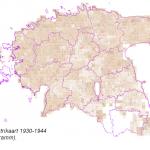 Skeemiline katastrikaart 1930-1944 (kattuvuse kartogramm)